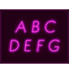 Neon Italic Font Type Alphabet Glowing in vector image