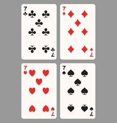 Playing cards seven vector image