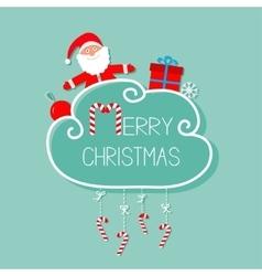 Santa claus giftbox snowflake ball merry vector