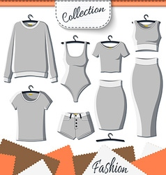 Set of grey clothes to create design on white vector