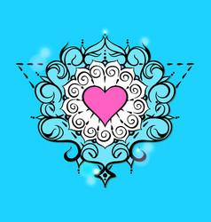 sketch of tattoo henna heart vector image vector image