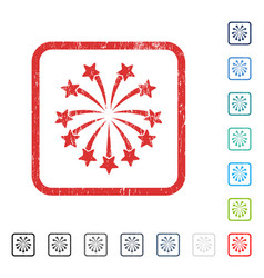 Spherical fireworks icon rubber watermark vector