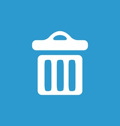 trash bin icon white on the blue background vector image