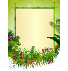 tropical background floral frame vector image vector image