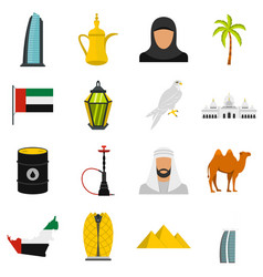 uae travel set flat icons vector image