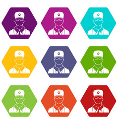 veterinarian icon set color hexahedron vector image vector image
