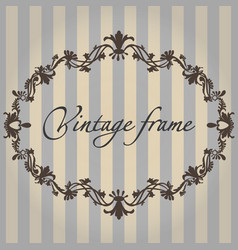 Vintage frame flower ornament color vector
