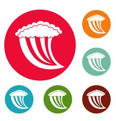 wave water icons circle set vector image