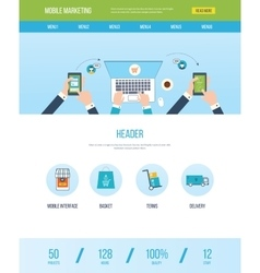 Web design template with icons of mobile marketing vector