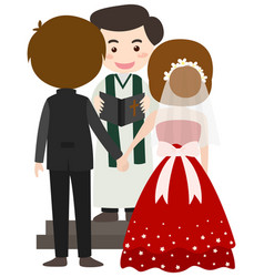 Wedding scene with bride and groom vector