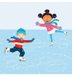 Winter scene with skating children vector image
