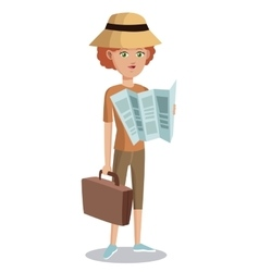Woman tourist with map suitcase hat vector