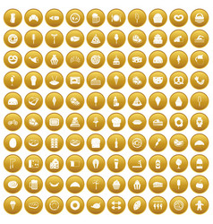 100 calories icons set gold vector