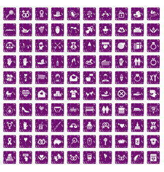 100 love icons set grunge purple vector image