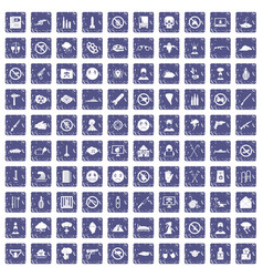 100 tension icons set grunge sapphire vector