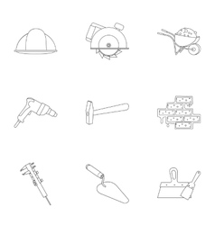 Build and repair set icons in outline style big vector