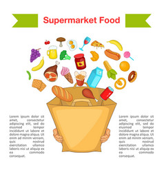 Food supermarket bag concept cartoon style vector