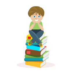boy sitting on a big pile of books vector image