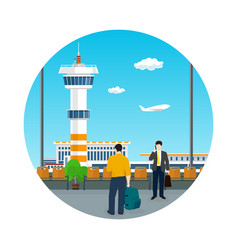 Icon airport travel and tourism concept vector