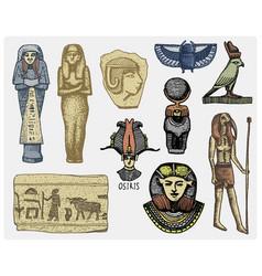 Egyptian symbols pharaon scorob hieroglyphics vector