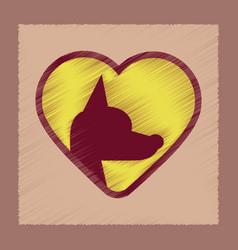 flat shading style icon puppy dog heart vector image
