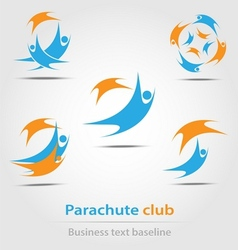 Parachute and parachute club business icon vector