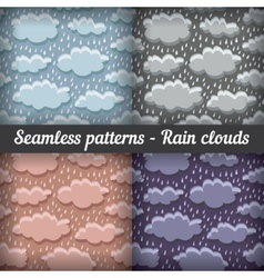 Rain clouds storm seamless pattern set vector