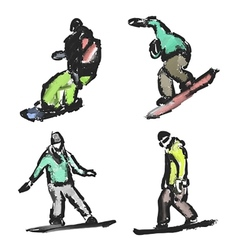 Drawn snowboarders vector