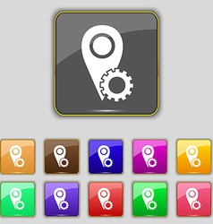 Map pointer setting icon sign set with eleven vector