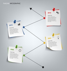 Time line info graphic with colored note paper vector