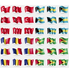 Turkey bahamas romania guyana set of 36 flags of vector