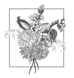 Bouquet of vintage flowers with swirls vector