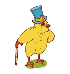 Little chicken gentleman vector