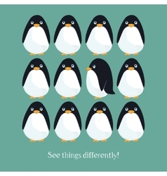 Motivating card with funny penguins vector