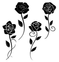 Silhouettes of roses 2 vector