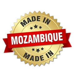 Made in mozambique gold badge with red ribbon vector