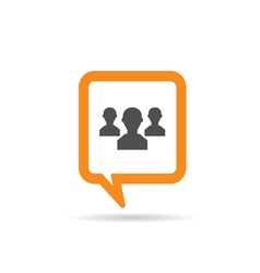 Square orange speech bubble with people vector
