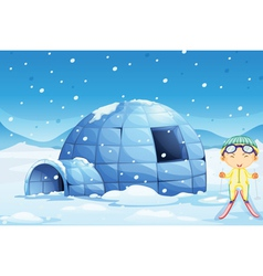 an igloo and a boy vector image