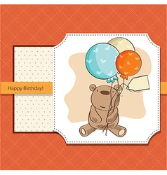 birthday card with teddy bear and balloons vector image vector image