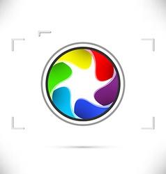 Bright rainbow camera shutter icon template vector image vector image