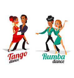 Cartoon of a couples dancing tango and vector