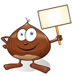 chestnut cartoon with signboard vector image vector image