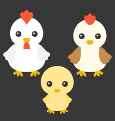 chicken hen and rooster cartoon character vector image