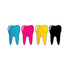 Cmyk tooth logo vector