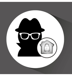 computer data protection thief lock icon vector image