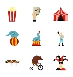 Concert in circus icons set flat style vector