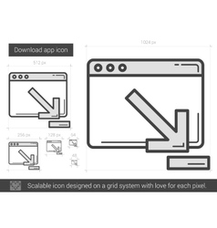 Download app line icon vector image