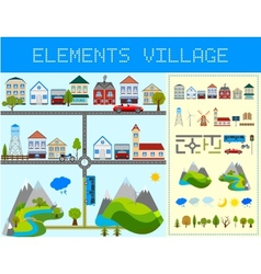 Elements of the modern village vector