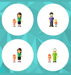 flat icon people set of mother daugther vector image vector image