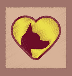 Flat shading style icon puppy dog heart vector